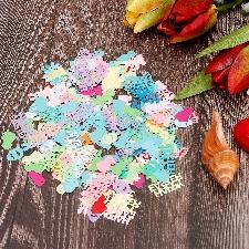 Oeufs Lapin Poussin Joyeuses Pâques Confettis Mélangés Décoration De La Maison