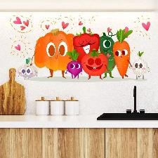Y1778 Autocollant Mural De Légumes De Dessin Animé De Citrouille Au Poivre Vert Carotte