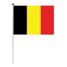 Drapeau Belge / Belgique 14 Cm X 20 Cm Sur Baguette Blanche Et Boule Doree Kza-D-B-Bel Airsoft