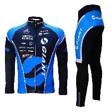 GAO Jersey Automne Et Hiver Polaire /à Manches Longues Bretelles Combinaison De Cyclisme VTT V/élo Polaire V/êtements Chauds Costume,Red-M