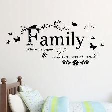 Lettre Famille Citation Art Decal Vinyle Amovible Mural Home Decor Stickers Muraux La2504
