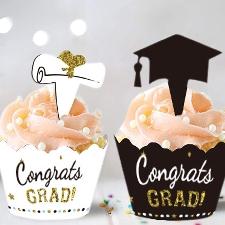 24pcs 2021 Graduation Cupcake Toppers Wrappers Fournitures De Fête Décorations De Gâteau_Z1909