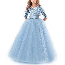 Robe De Soirée Pour Fille Vêtements Enfant De Mariage De Demoiselle D'honneur De Princessetaille 140cm Bleu Ciel