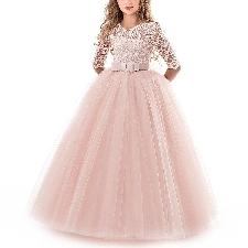 Robe De Soirée Pour Fille Vêtement D'enfant De Demoiselle D'honneur De De Mariéetaille 170cm Rose