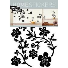 Fleurs Sticker Adhésif Mural Autocollant - Guirlande Noire