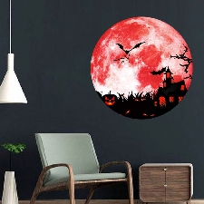 Creative Lumineux Lune Ombre Mur Autocollant Halloween Décoration Autocollant Citrouille Wall Stickers 6600
