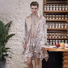 Hommes Simulation Soie Imprimer Pyjamas Lingerie Robe Peignoir Robe De Chambre Beige