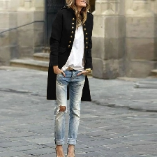 Femmes Automne Bouton Mode Solides Manches Longues Cardigan Top Double-Manteau Noir