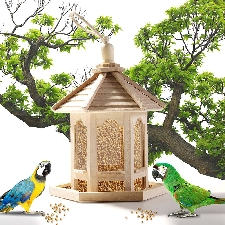 Mangeoire Pour Oiseaux Mangeoire Pour Oiseaux En Bois Suspendue Pour Jardin Cour Décoration Hexagone En Forme De Toit Attirer Les Oiseaux À La Recherc