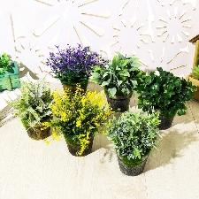 1pc Gazon Artificiel Plante Verdure Bonsaï Maison Bureau Meubles De Jardin Décor