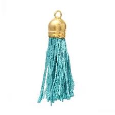 Terylene Gland Pour Porte-Cles Telephone Portable Sangles Rideau Maison Textile Bricolage Paon Bleu Dore 4.5 Cm X 1 Cm 30 Pieces