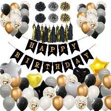Or Noir Joyeux Anniversaire Fête Décorations Confettis Ballons Ballons À Air Fournitures De Douche De Bébé