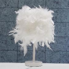 Led Créative Lampe De Table Chevet Veilleuse Plume Blanche Décor Maison Hôtel