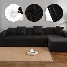 Housse De Canapé De Protection 3 +2 Places En L D'angle En Polyester Pour Meubles De Maison Douce Luxueuse - Noir