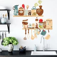 Sticker mural à imprimé ustensiles de cuisine