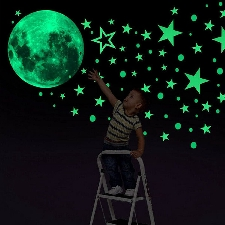 Sticker mural lune lumineuse