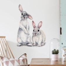 Sticker mural à imprimé lapin