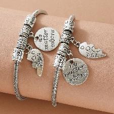 Bracelet à breloque coeur 2pcs