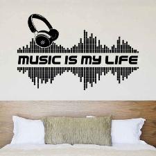 Musique Casque Stickers Muraux Decalcomanie Salon Maison Amovible Etanche Pvc Stickers Muraux