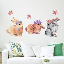Aquarelle Lapins Stickers Muraux Pour Chambre D'enfants Chambre Décoration Murale Décoration De La Maison Vinyle Stickers Muraux Art Peintures Murales