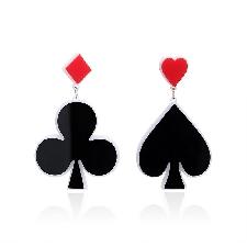 Mtf Mode Haute Qualite Couleur Noire Poker Forme Boucles D'oreilles Pendantes Boucles D'oreilles Bijoux Femme Brincos Pour Femmes Filles