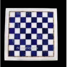 Carré Marbre Café Table Haut Main Crafted Échiquier Table avec Bleu Pierre