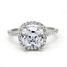 2.50 CT Coussin Coupe Diamant Halo Bague de fiançailles 10k Solide Or Blanc Finition