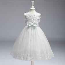 Robede Demoiselle D'honneur Fille Avec N Ud Dentelle Enfant Princess Robe Longue Costume Pour Mariage Soirée Anniversaire, Blanc