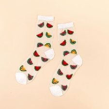 5 -Chaussettes Transparentes À Motif De Fruits Pour Femmes, Design Kawaii, Cerise, Avocat, Orange, Harajuku, Verre Fin En Soie, Mign