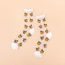3 -Chaussettes Transparentes À Motif De Fruits Pour Femmes, Design Kawaii, Cerise, Avocat, Orange, Harajuku, Verre Fin En Soie, Mign