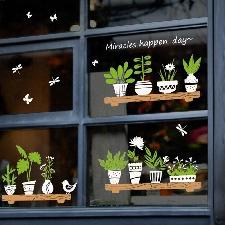 Stickers Muraux Plante En Pot Boutique Porte En Verre Café Décoration Porte Stickers Muraux Stickers Muraux Art Pour Enfant Chambre 2019 A12360