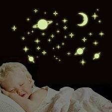 Stickers Muraux Étoiles De Lune Scintillants