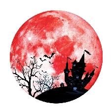 Halloween Décoration Créative Nuit Lumière Lune Château Sticker Mural Sticker Mural Fluorescent Famille Décoration Pour Salon-Red