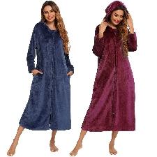 Femme Zip Up Peluche Polaire Robe à capuche Chaud Long Peignoir Robe de chambre Hiver Confortable Fermeture éclair Chaises longues Sleepwear Housecoat