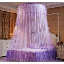Ciel De Lit Moustiquaire Ciel De Lit Princesse Moustiquaire Dôme Avec Décor Papillon Pour Chambre Bébé Ou Enfant Violet