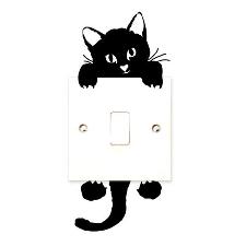 Beau Chat Stickers Muraux Pour Chambre D'enfant Sticker Interrupteur Décoration À La Maison