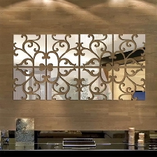 Diy Acrylique 3d Miroir Moderne Mural Autocollant Sticker Mural Décor Amovible Argent (32)