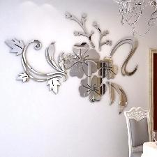 3d Sticker Miroir Mural, Stickers Muraux Cuisine Salon, Stikers Muraux Chambre Enfant, Sticker Mural Home Decor, Vigne Argent