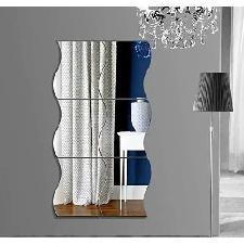 #1 Miroir Autocollant Autocollant 3d Design Moderne Conception Future Metal Surface Decoration Murale Vignette Salon Chambre A