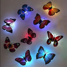 2pcs Stickers Muraux De Papillons 3d Led