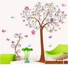 Tuba Sticker Mural Autocollant Arbre Hibou Fleur Oiseau Chambre Mur Maison Decor