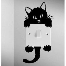Interrupteur Décalque Mur Noir Chat Mignon Autocollants Muraux En Vinyle De La Maison Décalcomanies Passer Décoration