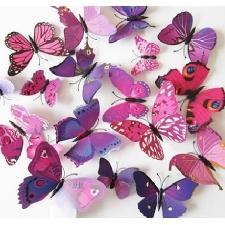 Lot De 12 Stickers Muraux De Papillons 3d (Violet Et Rouge)