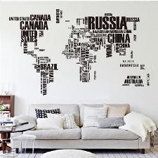 Autocollant Mural Carte Du Monde, Art Peinture Murale Stickers En Pvc Noir
