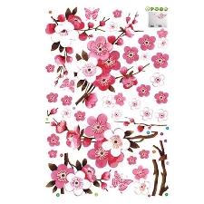 Explosion1 Pcs Fleur De Pêche Amovible Sticker Mural Pour Salle À Man De Bains Chambre Couloir Pépinière Mur Art