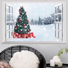 Stickers Muraux Arbre De Noël,Décoration Autocollants 3d Fausses Fenêtres Murs Autocollants Chambres Autocollants Muraux 72*48.5cm