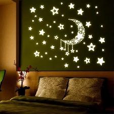 Lune Etoile Autocollant Mural Phosphorescent Décor Mur Sticker Fenêtre Plafond