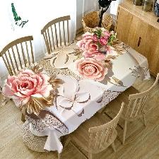 Pink Peony 90x90 Cm -Nappe De Table Violette Pour Mariage, 1 Pièces, Décoration 3d Pour Maison, Bouquet, Arbre De Noël, Fête D'an