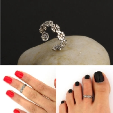 Women's Retro Adjustable 925 Silver Plated Toe Ring Foot Jewelry Beach