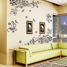 Autocollant mural fleur classique noir   Étiquette tenture murale, décoration murale fleur pour salon, Stickers muraux pour plantes,